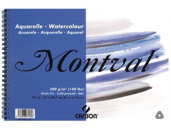 Aquarellblock Canson Montval mit Spirale fein 300g 12Blatt