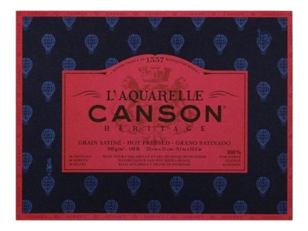Aquarellblock Canson Héritage 23x31cm Satiniert 20Blatt