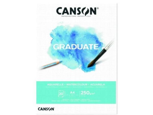 Aquarellblock Canson Graduate Feinkorn 250g/qm 20Blatt A4
