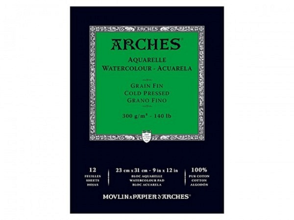 Aquarellblock Arches fein 300g 23x31cm 12Blatt