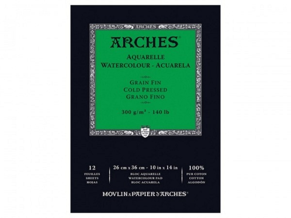 Aquarellblock Arches fein 300g 26x36cm 12Blatt