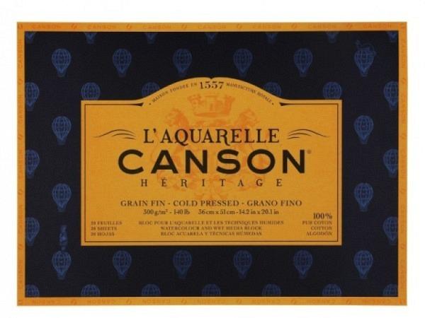 Aquarellblock Canson Héritage 26x36cm Feinkorn 12Blatt