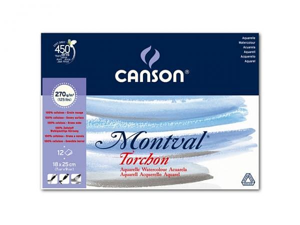 Aquarellblock Canson Montval Torchon 18x25cm 12Blatt 270g