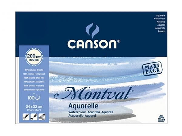 Aquarellblock Canson Montval Feinkorn 24x32cm 100Blatt 200g