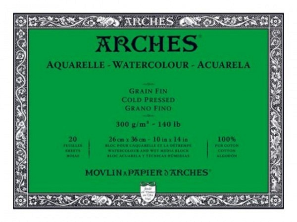 Aquarellblock Arches satiniert 300g/qm 19x26cm 12Blatt