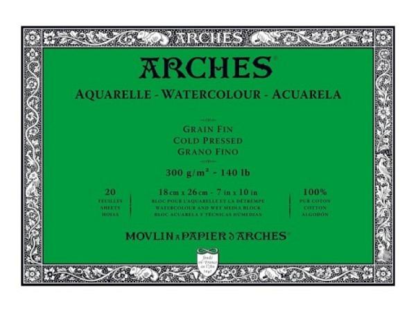 Aquarellblock Arches satiniert 300g/qm 26x36cm 12Blatt