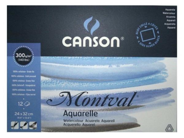 Aquarellblock Canson Montval 300g, 32x41cm 12 Blatt, rundum