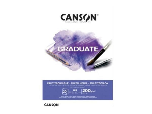 Aquarellblock Canson Graduate Mixed Media White leicht gekörnt 200g/qm