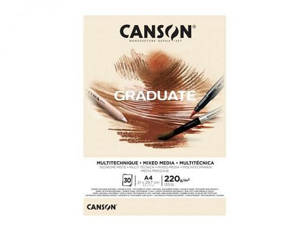 Aquarellblock Canson Graduate Mixed Media Natural körnig und glatt 220g/qm