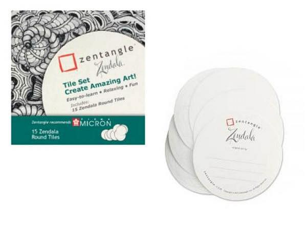 Papier Zentangle Zendala Tile Set weiss 15 Tiles rund 11,7cm