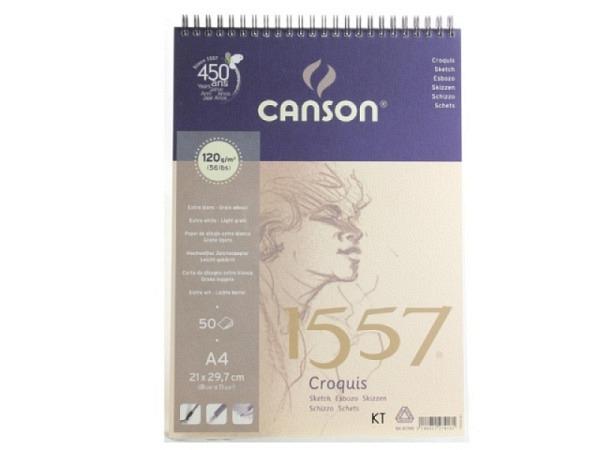 Zeichenblock Canson 1557 120g/qm Spiralbindung A4