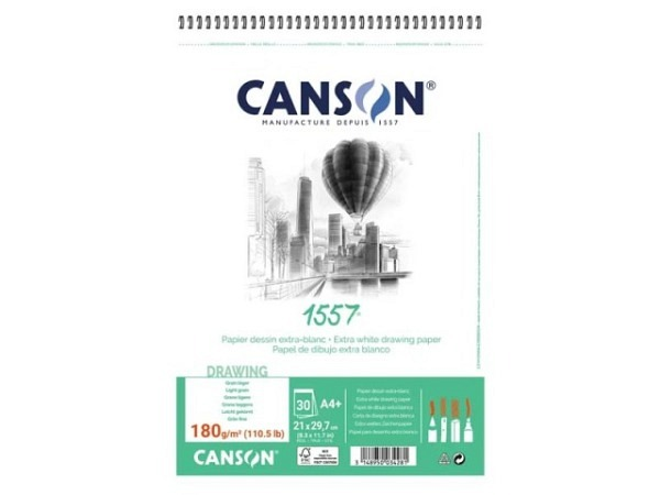 Zeichenblock Canson 1557 180g 30Bl. Spirale A4