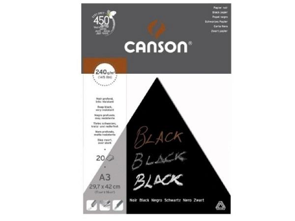 Zeichenblock Canson schwarz A4 20 Blatt 240g/qm