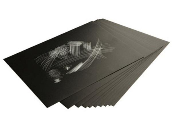 Schabkarton Essdee Silber 15,2x22,9cm A5 schwarze Oberfläche