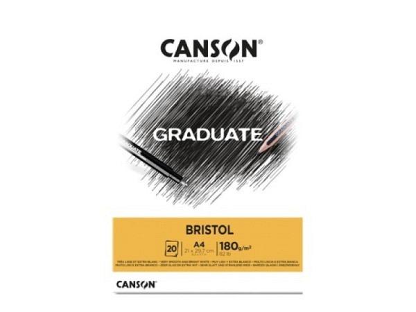 Bristolblock Canson 180g/qm A4 20 Blatt glatt und hochweiss