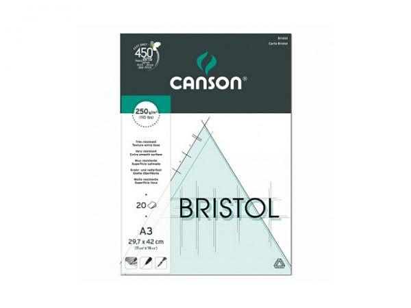 Bristolblock Canson 250g/qm 20 Blatt superglatt A3