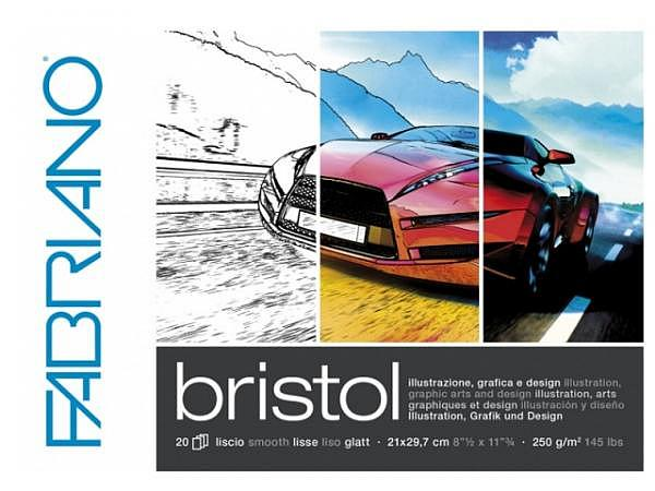 Bristolblock Fabriano A4 20Blatt 250g/qm, glattes hochweiss