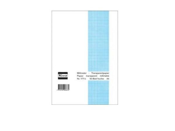 Millimeterpapier Favorit A4 65g blau/transp. 50Bl.