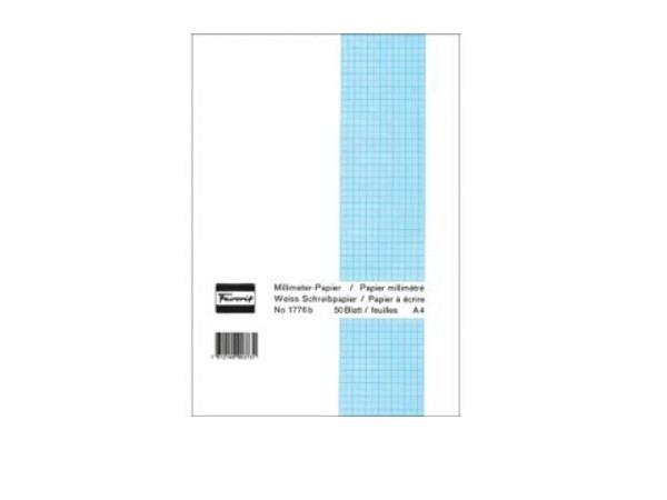 Millimeterpapier Favorit A4 80g blau/weiss 50Bl.