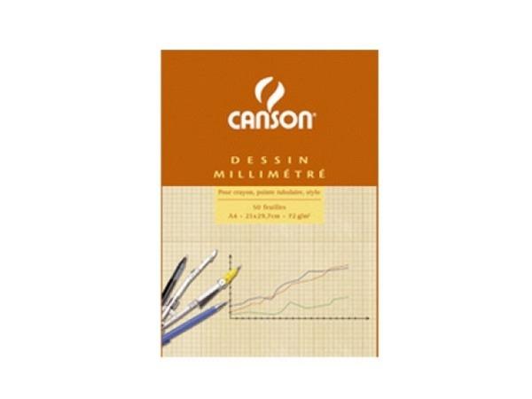 Millimeterpapier Canson A3 90g rot/weiss 50 Blatt