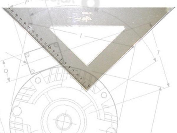 Winkel DFH Akryl 45Grad 20cm Hypotenuse, eingravierte Skala