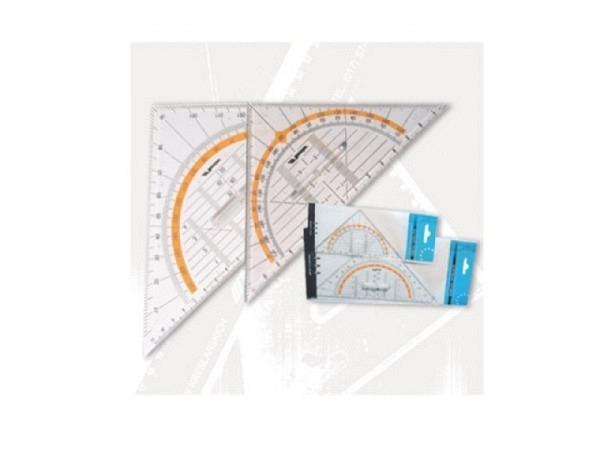 Winkel Leniar Geodreieck 25cm mit Griff transparent 180Grad