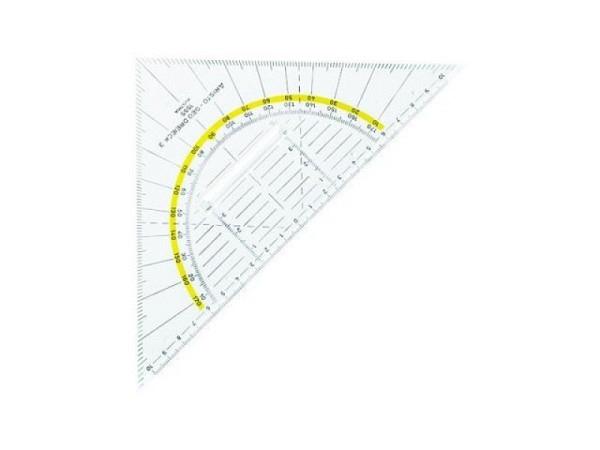 Winkel Aristo m.Facette und Tuschnoppen 22,5cm Hypotenuse