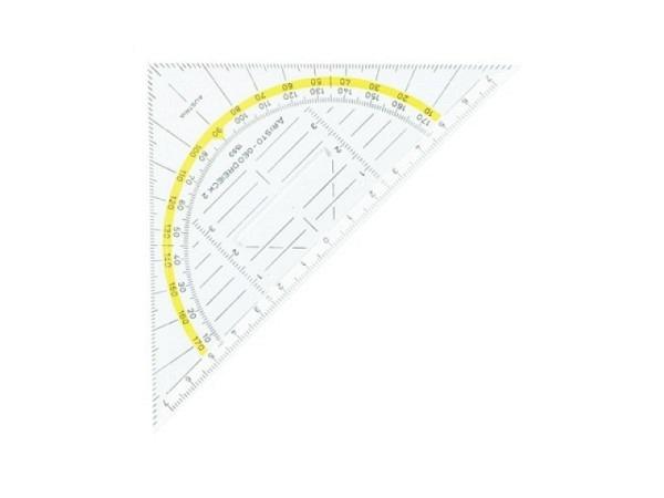 Winkel Aristo 16cm 1553 Hypotenuse, gelbe Winkelbeschriftung