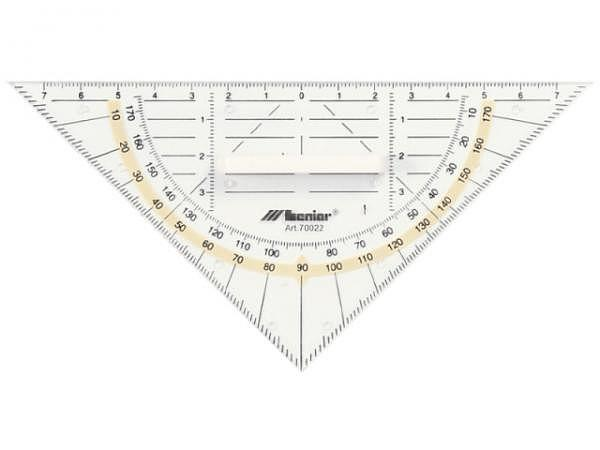 Winkel Leniar Geodreieck 16cm mit Griff, transparent 180Grad