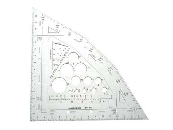 Winkel Akryla 60Grad 26cm ohne Skala mit Tuschkante, 101/26