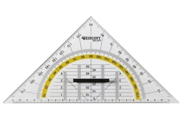 Winkel Westcott Geodreieck 22cm mit abnehmbarem Griff
