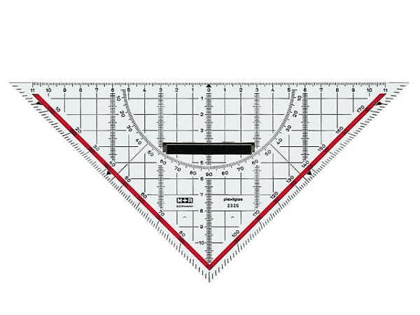 Winkel M+R Geodreieck Akryl 25cm mit abnehmbarem Griff