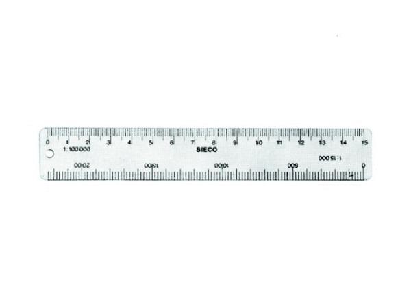 Reduktionsmassstab Sieco Aluminium 15cm für Wanderkarten