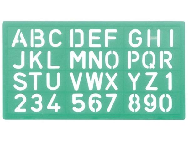 Schriftschablone Linex 30mm 8530 Grossbuchstaben und Zahlen