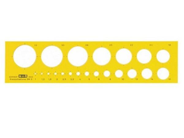 Schablone M+R Kreisschablone gelb transparent, Kreise mit Durchmesser 1-32mm
