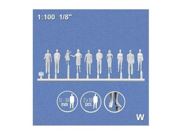 Figuren Detail 1:100 weiss 3x6 verschiedene Passanten