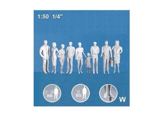 Figuren Detail 1:50 weiss 3x6 verschiedene Passanten stehend