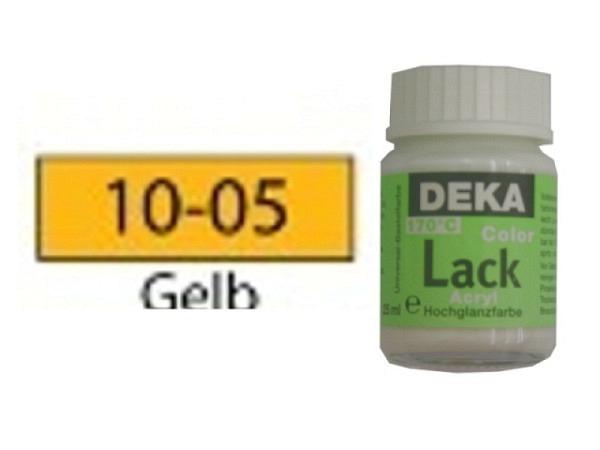 Akryl Deka Lack 25ml gelb 10-05, volldeckender Lackglanz