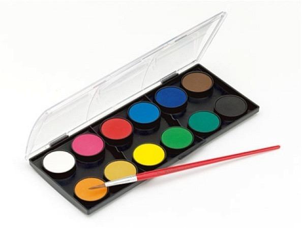 Gouache Faber-Castell Set 12er, Näpfe, Farben mischbar