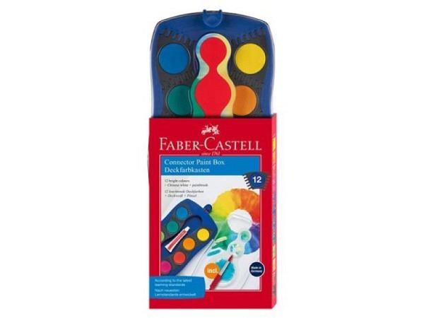 Gouache Faber-Castell Connector Malkasten blau mit 12 Farben