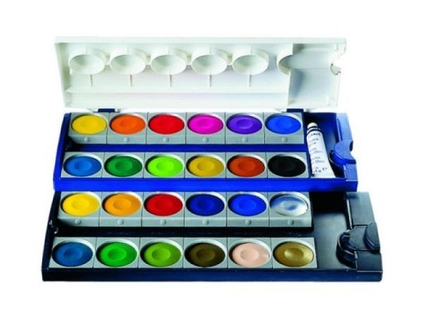 Gouache Pelikan Set Kunststoff 24 Farben 1Tube Deckweiss