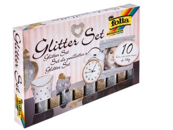 Glimmer Folia Set mit 5 Behälter gold, 5 Behälter silber 14g