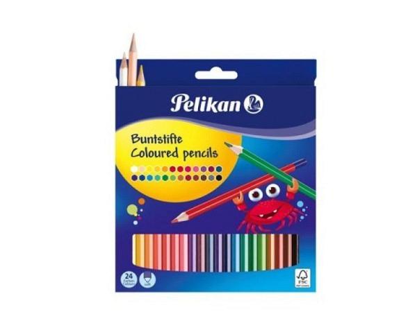 Farbstift Pelikan 24er Set im Kartonetui, 6eckige Buntstifte