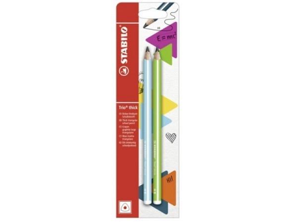 Bleistift Stabilo Trio Thick HB blau und grün