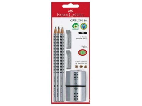 Bleistift Faber-Castell Grip 2001 HB 3er Set grau