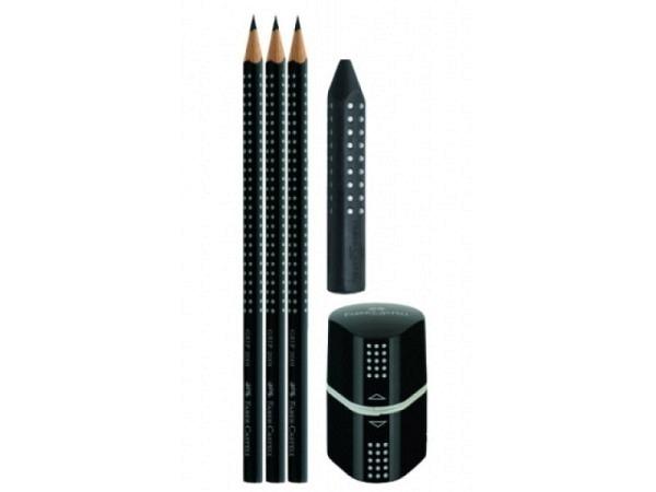 Bleistift Faber-Castell Grip 2001 HB 3er Set schwarz