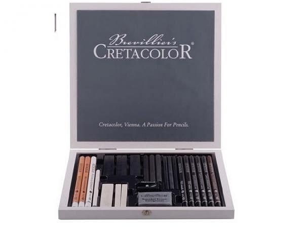 Zeichenstift Cretacolor Set Black and White Wooden Box 25tlg