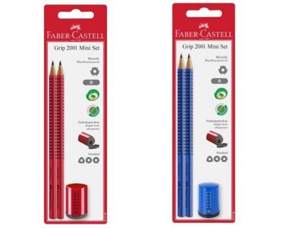 Bleistift Faber-Castell Grip 2001 B 2er Set blau oder rot