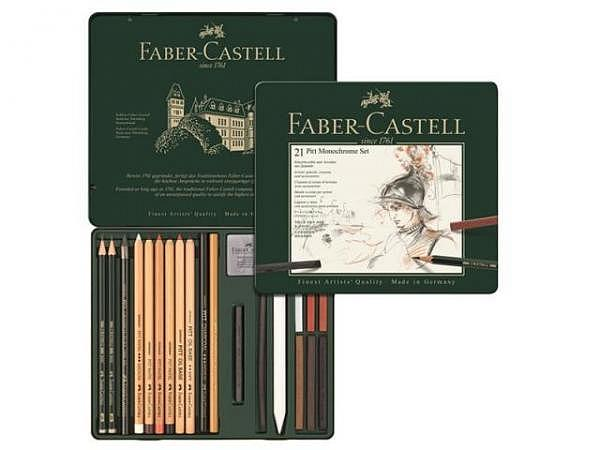 Zeichenstift Faber-Castell Pitt Monochrome Set 21tlg