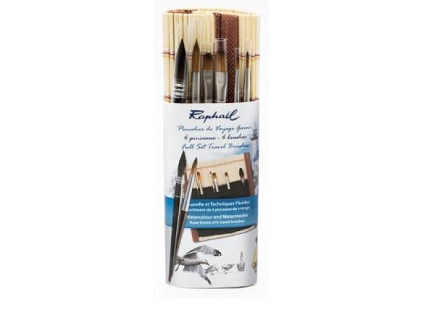 Pinselset Raphael Aquarell in Bambusmatte eingerollt